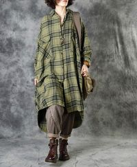 Linen midi shirt, Oversized long sleeved shirt, plaid shirt, plus size clothes