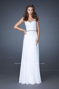 Chiffon A-Line Strapless Full Length Homecoming Dresses White for Cheap