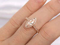 10X5MM MARQUISE CUT MORGANITE AND DIAMOND ENGAGEMENT RING 14K ROSE GOLD MILGRAIN ART DECO STACKING BAND
