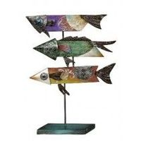 Buy wooden fish jewel tone stand - high quality, long lasting product from seashellco.com order online now at best price. Visit :https://www.seashellco.com/3-wooden-fish-jewel-tone-stand-16x21-metal-capiz-art