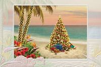 Presents In Paradise Embossed Christmas Cards - Box of 16