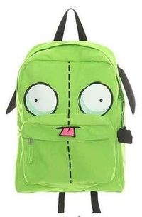Invader Zim Gir Face Head Embroidered Tongue Piggy Pull Zipper Backpack Licensed'