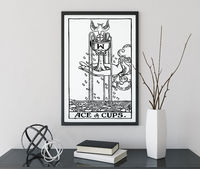 Ace of Cups - Tarot Card Print - Tarot Card The Ace of Cups Card Black and White Poster, No Frame $20.00