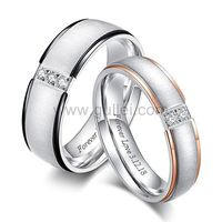 Gullei.com Titanium Engraved Wedding Rings for Him and Her