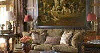 Love the amazing huge hound painting over the sofa