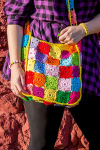 Rainbow crochet bag with pocket for fashion girls. Granny square. Christmas gift for daughter $58.00