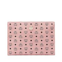 MCM Large Visetos Original Zip Pouch In Light Pink