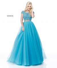 TURQUOISE Sherri Hill 51594 Two Piece Cap Sleeve Prom Dress