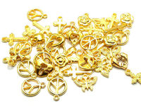 CLEARANCE Pack of 100 Assorted Gold Coloured Symbol Charms. Mix Bag Clover Cross Heart Peace Pendants £9.99