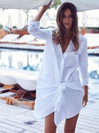 Loose Cotton White Bow Long Sleeve Irregular Mid-Length Dress $43.00