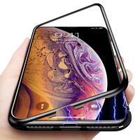 Bakeey Protective Case for iPhone XS Max Magnetic Adsorption Metal Bumper + 9H Tempered Glass Back Cover - Transparent White