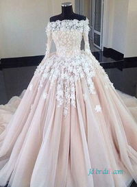 H0566 Modest long-sleeved blush ball gown wedding dress Model: H0566(Worldwide Free shipping)