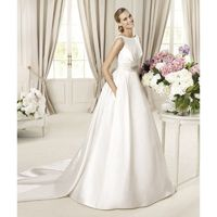 Simple Ball Gown Bateau Straps Beading Bow(s) Buttons Floor-length Watteau Train Satin Wedding Dresses - Dressesular.com