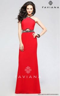 Mesh Halter Faviana 7729 Red Front Cutouts Prom Dress