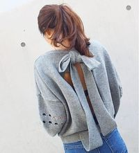 Loose Backless Bow-Knot Sweater $30.99
