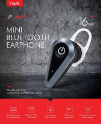 Havit I5 Mini Single Wireless bluetooth Earphone Invisible Light Business DSP Noise Cancelling Earbuds Headphone with HD Mic