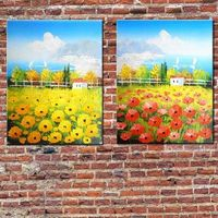 Hand Painted Landscape Oil Painting On Canvas Set Of Two