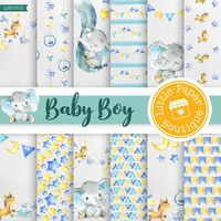 Baby Blue Digital Paper, Blue, Grey, Baby Boy, Digital Paper, Scrapbook Paper,Digital Paper,Scrapbook Paper,Blue Baby Boy Digital Paper Pack $7.00