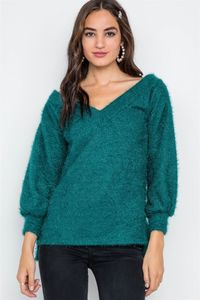 Women's Top Fashion Outfit Teal Fuzzy Long Sleeve V-neck Sweater $29.00