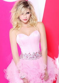 Short Tulle Beaded Corseted Top Ruffled Pink Cocktail Dress