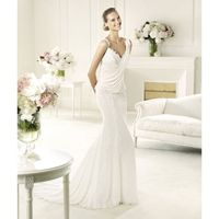 Sexy Trumpet/Mermaid Spaghetti Straps Lace Sweep/Brush Train Chiffon Wedding Dresses - Dressesular.com