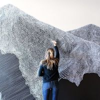 Made out of thousands of tiny little triangles, these delicately thatched composites strike a pleasing visual chord through their careful balance of negative an