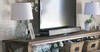 DIY Console Table and Walls Painted in 'Edgecomb Grey' by Benjamin Moore - from Paddington Way