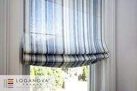Custom Oliver Faux Linen Striped Roman Shade $97.00