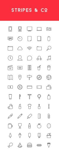 This weeks freebie is a versatile and modern line-styled icon set called Stripes & Co (65 icons in AI and EPS formats).