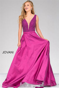 Beaded V Neck A Line Ball Gown by Jovani 40712