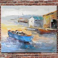 Harbor Hand Painted Oil Painting On Canvas
