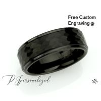 Mens Wedding Band, 8mm Black Tungsten Promise Ring, Tungsten Black Hammered Tungsten Engagement Ring For Men, Personalized Tungsten Ring $73.00
