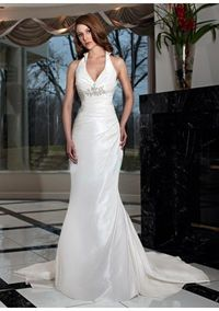 Beaded Accent And Covered Button Back Mermaid Skirt With Chapel Train 2012 Weddin