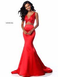 Sherri Hill 51712 Deep V Neckline 2 Piece 2018 Red Long Satin Mermaid Gowns [Sherri Hill 51712 Red] - $180.00