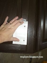 a simple template for mistake free installation of cabinet hardware