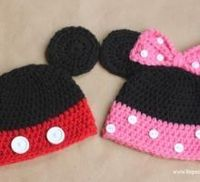 Mickey and Minnie Mouse Crochet Hats