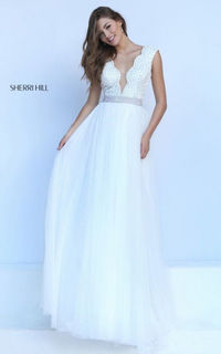 V Neck 50029 Ivory Plunging Pageant Sherri Hill Cheap Dress For Prom