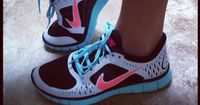 Teal and Coral Nikes! Gotta find them... don't know if they are good for running but they sure are cute!