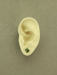 Natural Jade Stone 6 mm Square Magnetic Non Pierced Clip On Earrings $15.00 Designed by LauraWilson.com