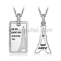 Gullei.com Personalized Engraved Eiffel Tower Couples Necklaces Set for 2