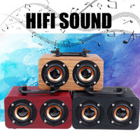 FT-4002 Wooden Wireless bluetooth Speaker Dual Driver TF Card Stereo Bass Subwoofer with Mic with Phone Holder