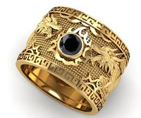 Gold Black Diamond Ring, Wide Band 14K Men's Ring with Natural Black Diamond $3864.00
