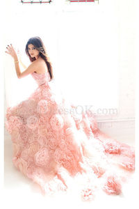 Beautiful Pink Natural Strapless Sleeveless A-line Prom Dresses