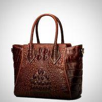 Crocodile Pattern Embossed Real Leather Shoulder Bag $249.99