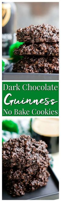Dark Chocolate Guinness No Bake Cookies are a rich, delicious, and easy dessert for St. Patrick's Day that's made with Irish stout. via
