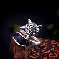 Woman Ring - Fox Ring -Silver Ring - Blue Sandstone Ring - silver fox-fox lover gift-fox ring silver-925 Sterling silver fox jewelry for her