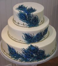 peacock themed candy tables | This incredible peacock wedding cake or I guuess it could be a peacock