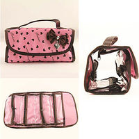 1PCS Cosmetic Makeup Pouch Portable Foldable Bag with Bowknot Loving - Heart Pink (Assorted Colors)