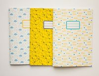 Pack of 3 custom notebooks - School supplies - Back to school - 10 patterns available. �'�18,00, via Etsy.