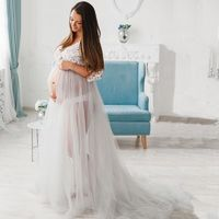 See Through Long Sleeves Tulle Wedding Dresses Pink and Blue Pregnancy Photography Sexy Bridal Dress 2019 Real Photo HA2148
